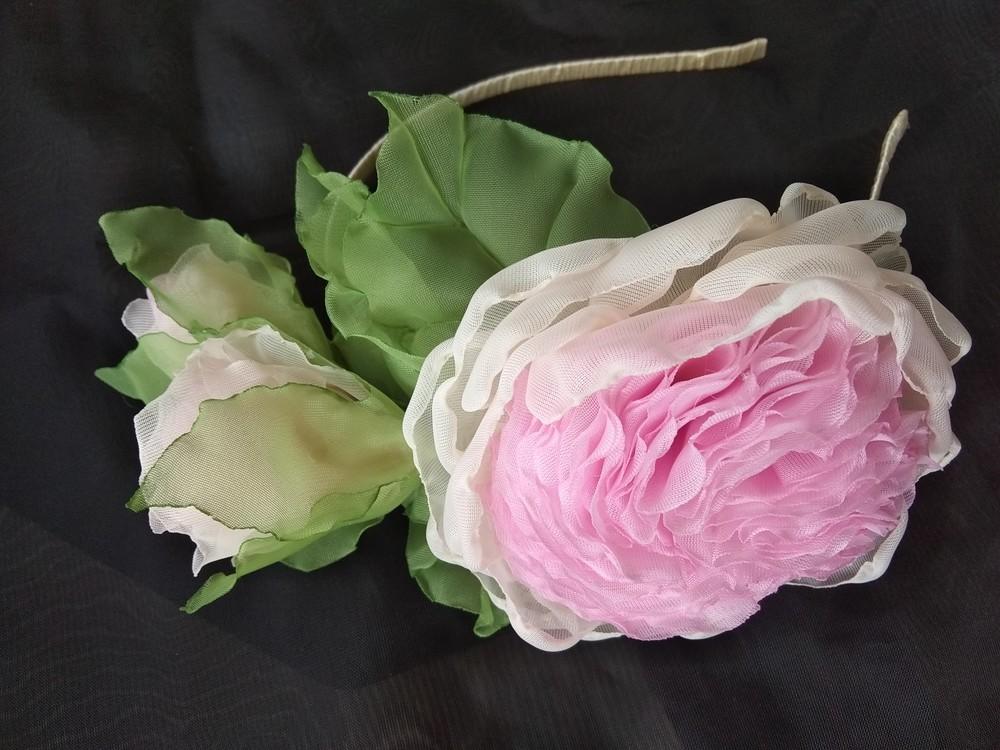 """Обруч """"английская роза"""" ,  ободок,  веночек,  цветы из шифона фото №8"""