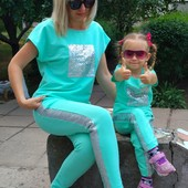 Мятный летний костюм мама дочка Family Look Фемили Лук
