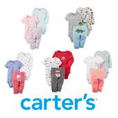 Копмлекты веселые попки Carters хлопок бодик штанишки набор бодики
