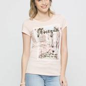 женская футболка LC Waikiki светло-розового цвета с картинкой и надписью