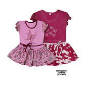 Платье для девочек комбинированное + вышивка, кулир