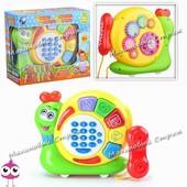 Развивающая игрушка Телефон Умная улитка, музыка и песня, световые эффекты, названия животных, цифры