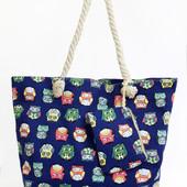Пляжная сумка с ярким принтом совы ,косметичка в комплекте, новый сезон