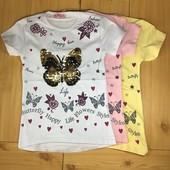 Детская футболка рр. 128-152 Бабочка пайетками перевертышами Beebaby (Бибеби)