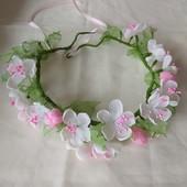 """Веночек  """"Цвет яблони""""  ручной работы,  цветы из шифона,  ободок,  обруч"""