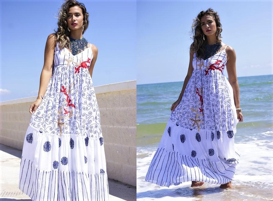 e8e0a69f0b141fd Женское пляжное платье сарафан индиано anastasea испания длинный в пол с стиле  бохо хлопок батист фото