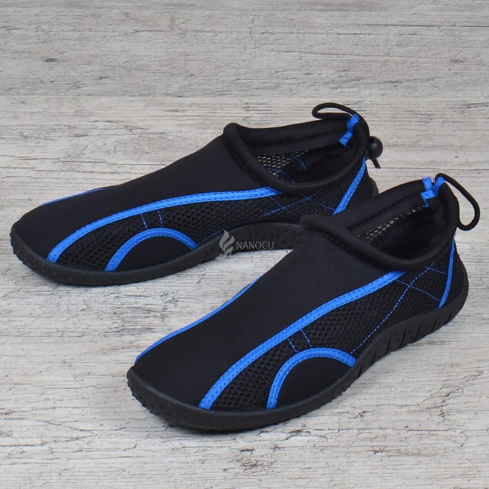 Акваобувь мужская для плавания тапочки для кораллов и моря черные с синим для плавания фото №1