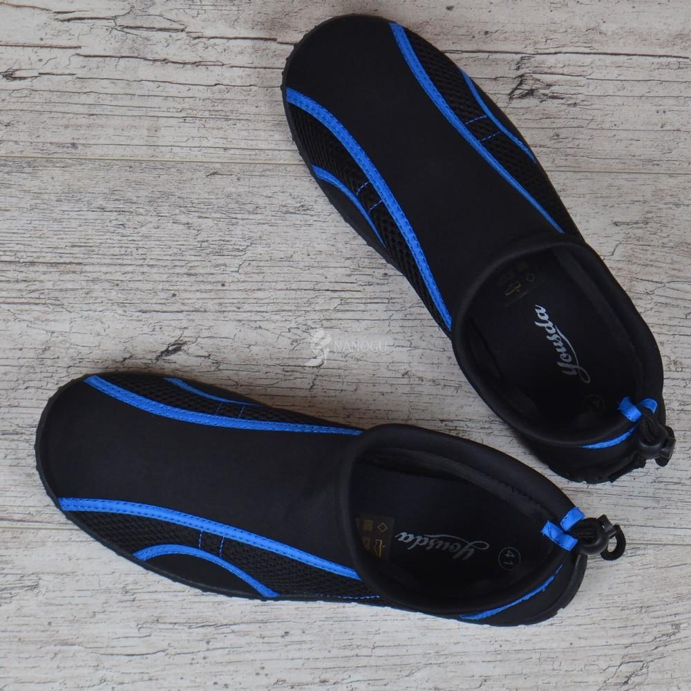 Акваобувь мужская для плавания тапочки для кораллов и моря черные с синим для плавания фото №5