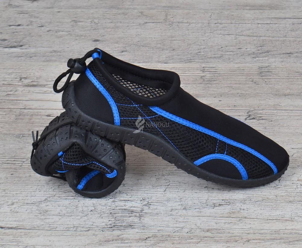 Акваобувь мужская для плавания тапочки для кораллов и моря черные с синим для плавания фото №8