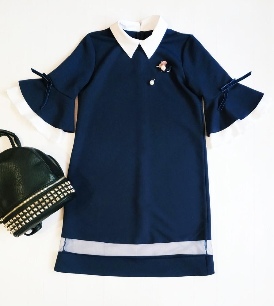 Стильное школьное платье воланы 122-146 фото №1