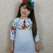 Вышиванка блузка туника для девочки 110-158