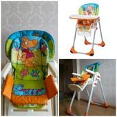 Б/У стульчик для кормления chicзco polly 2в 1,4-х колесный+ пирамидка в подарок