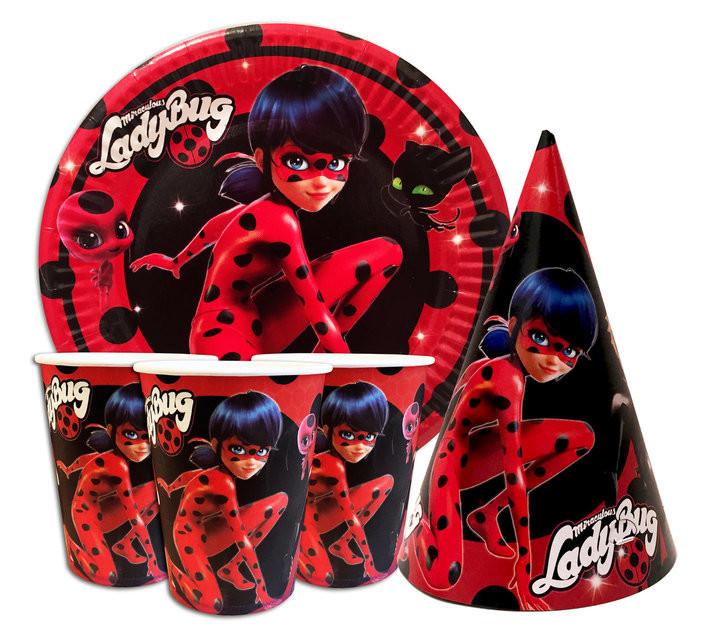 Праздничная посуда и аксесуары для детского дня рождения леди баг ladybug фото №1