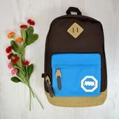 Рюкзак коричневый с голубым кармашком