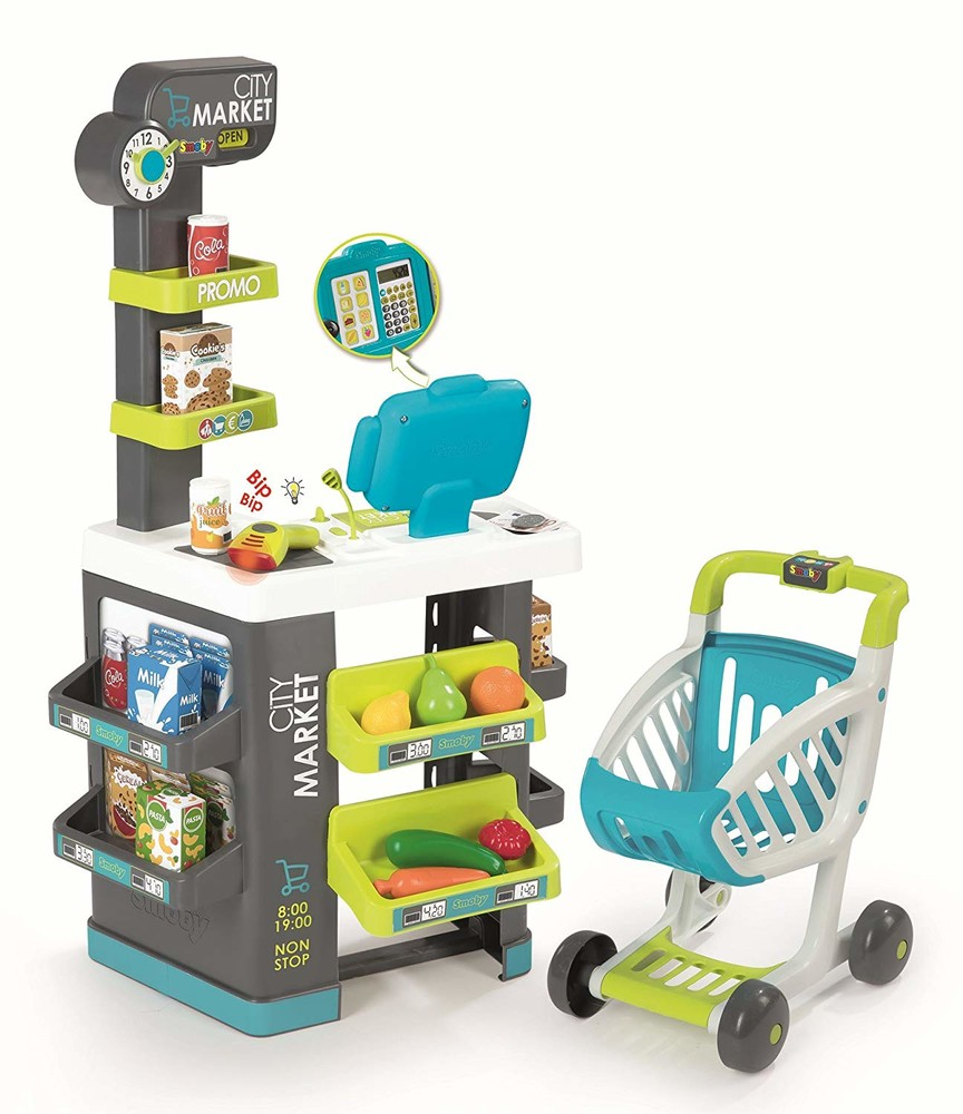 Интерактивный супермаркет smoby toys market со звуковыми эффектами, тележкой и аксессуарами 350212 фото №1