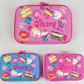 Пенал для девочки, розовый, объемные рисунки 3D