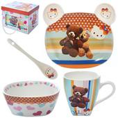 Керамический детский набор посуды Мишка