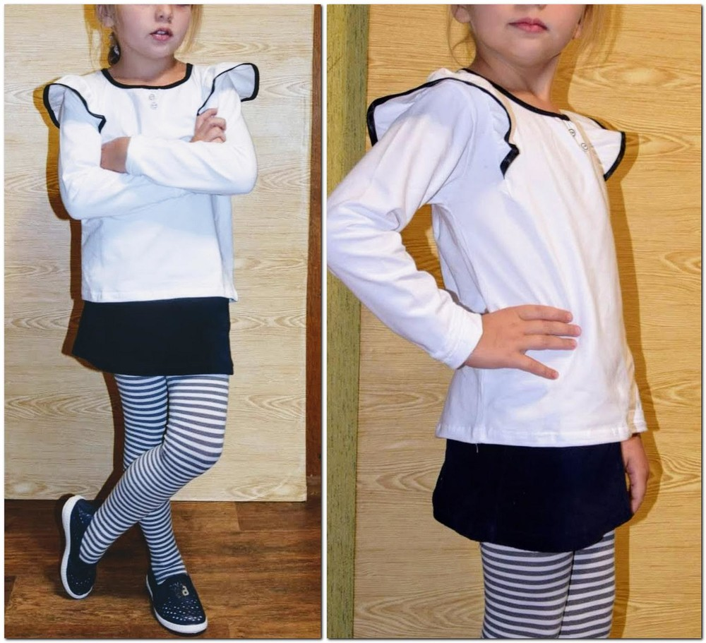 Блуза плечи-крылышки белая, в школу от 105 до 140 см хлопок фото №1