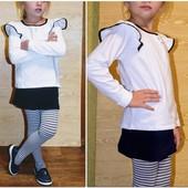 Блуза с воланами на плечах белая, можно в школу от 105 до 140 см хлопок