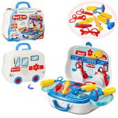 Набор доктора в чемодане на колесиках, шприц, очки, молоточек, градусник, 14 предметов