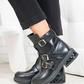 Новинка! деми/зима женские замшевые /кожаные ботинки код:СЛ 6714-28