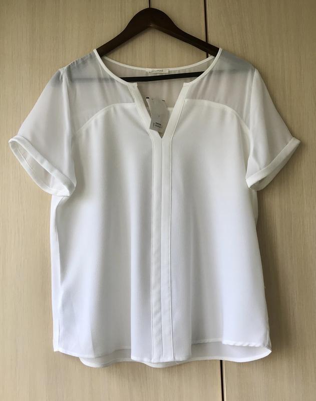 Белая блуза с прозрачной вставкой promod, xxl фото №1
