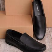 Легкие удобные мужские мокасины черного цвета