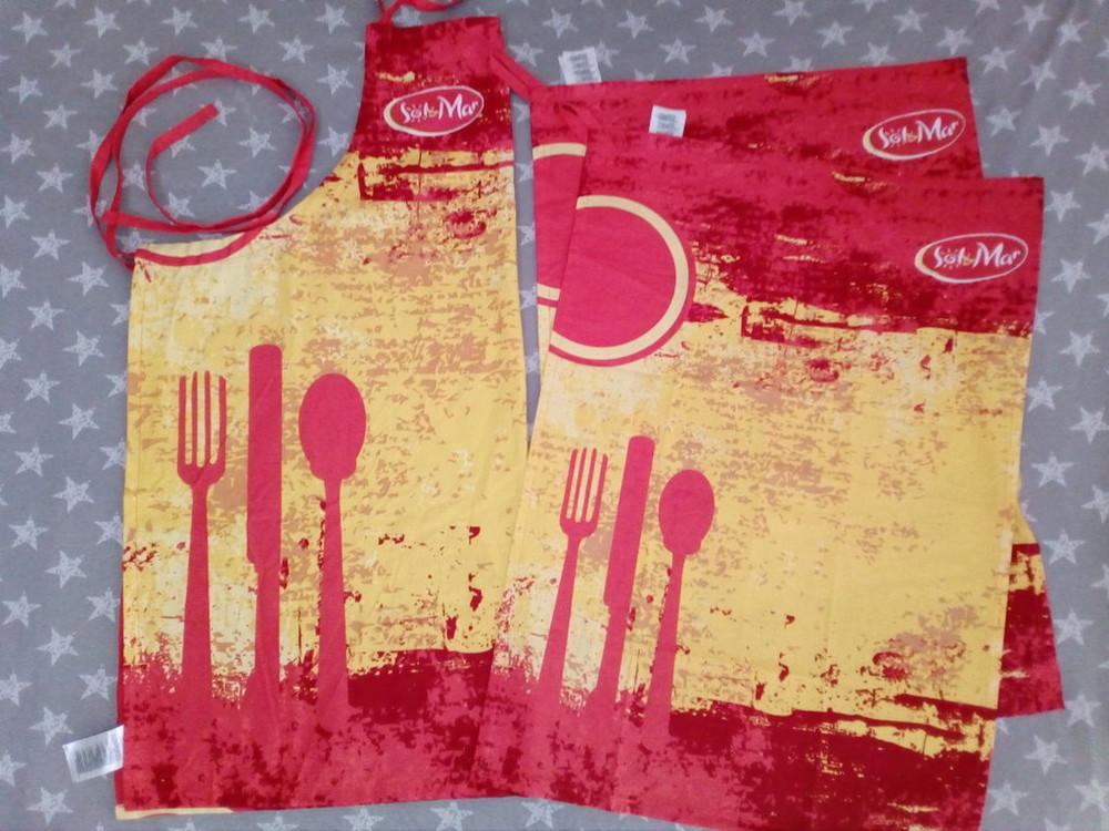 Комплект для кухни фартук передник и два больших кухонных полотенца, ernesto германия lidl фото №1