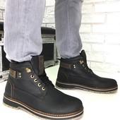 Натуральные кожаные зимние мужские ботинки на меху, код ех-2005