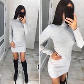 Теплое платье мини под горло Ангора софт цвет  в ассортименте