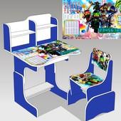 """Парта школьная """"Нинзяго"""" цвет синий (парта+1 стул), 690*450"""