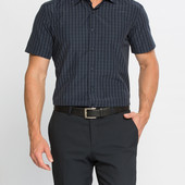 мужская рубашка LC Waikiki синего цвета с коротким рукавом в полоску