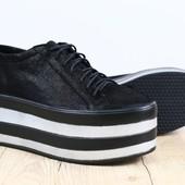 Туфли-Криперы на высокой платформе из натуральной кожи, код ks-3187