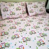 Совушки Милая и качественная простыня в детскую кроватку!