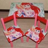 Деревяний дитячий столик Аріель 40 на 60 см з 1 стульчиком