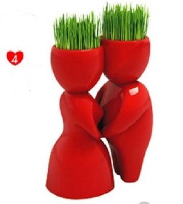 Травянчик керамический красный двойной - пара целуется фото №1