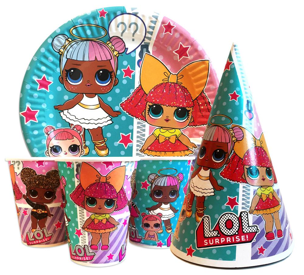 Праздничная посуда для детского дня рождения куклы лол  lol фото №1