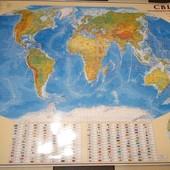 Общегеографическая карта мира картонная Новая