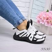 Кроссовки женские LV черный +белый Код: а5530