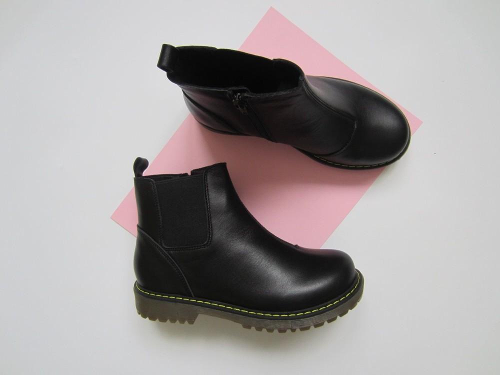 Черные кожаные ботиночки челси 31-34 р, супер качество!! фото №1