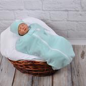 Пеленка кокон  еврококон на молнии утепленный , теплый набор для новорожденного набор для сна ангора