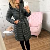 Новинка 2019 Пальто Gracias Grey удлиненное под пояс / стеганное / силикон 200 с капюшоном р 42-48