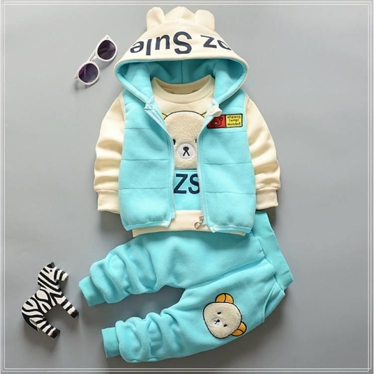 Тепленький костюм тройка детский ozsl, три цвета  80,86,92,98 фото №1