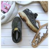 Замшевые брутальные кроссовки на платформе Сaterpillar pp 39