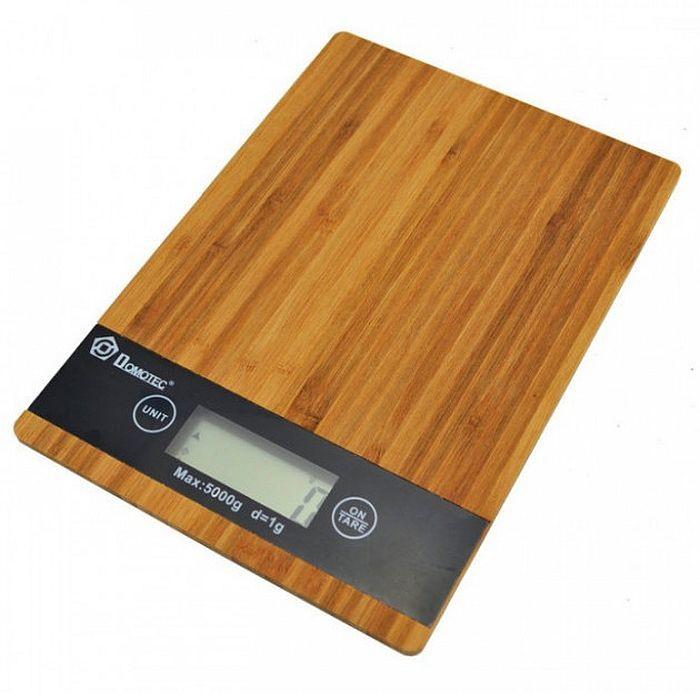 Кухонные сенсорные весы domotec ms-a до 5кг (платформа из дерева) фото №1