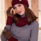 Комплект шапка, шарф перчатки 23 цвета люкс качество !!