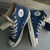 Кеды высокие ботинки на меху кожа Converse (39)