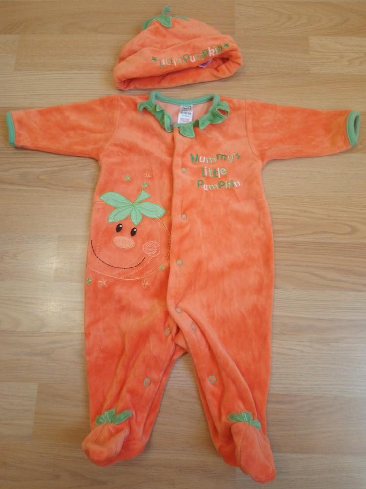 Велюровый костюмчик tu для ребёнка весом 4,5 кг и ростом 50-56 см. человечек и головной убор. скидка фото №1