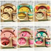 Набор детской посуды из бамбука Bamboo Fibre kids set