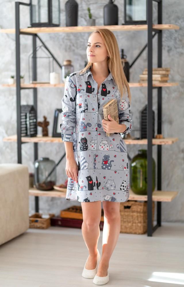 Домашняя стильная байковая рубашка-халат, размеры s-l фото №1